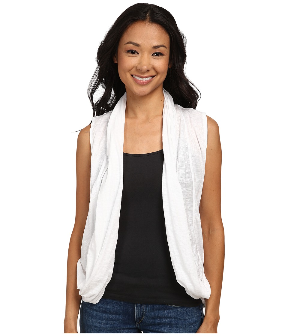 DKNY Jeans - Mesh Back Draped Cozy Vest (White) Women's Vest
