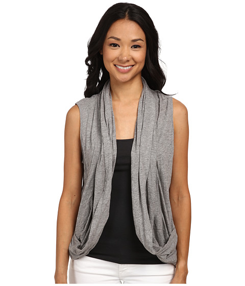 DKNY Jeans - Mesh Back Draped Cozy Vest (Smoke Grey Heather) Women's Vest