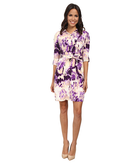 NYDJ - Kelsie Vintage Mosaic Shirt Dress (Passion Fruit) Women