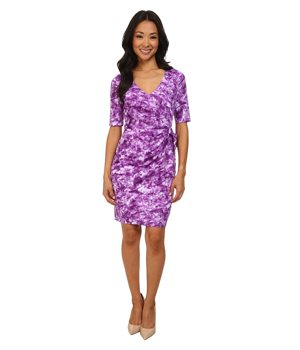 NYDJ - Daniella Rain Drop Tie Dress (Deep Violet) Women's Dress