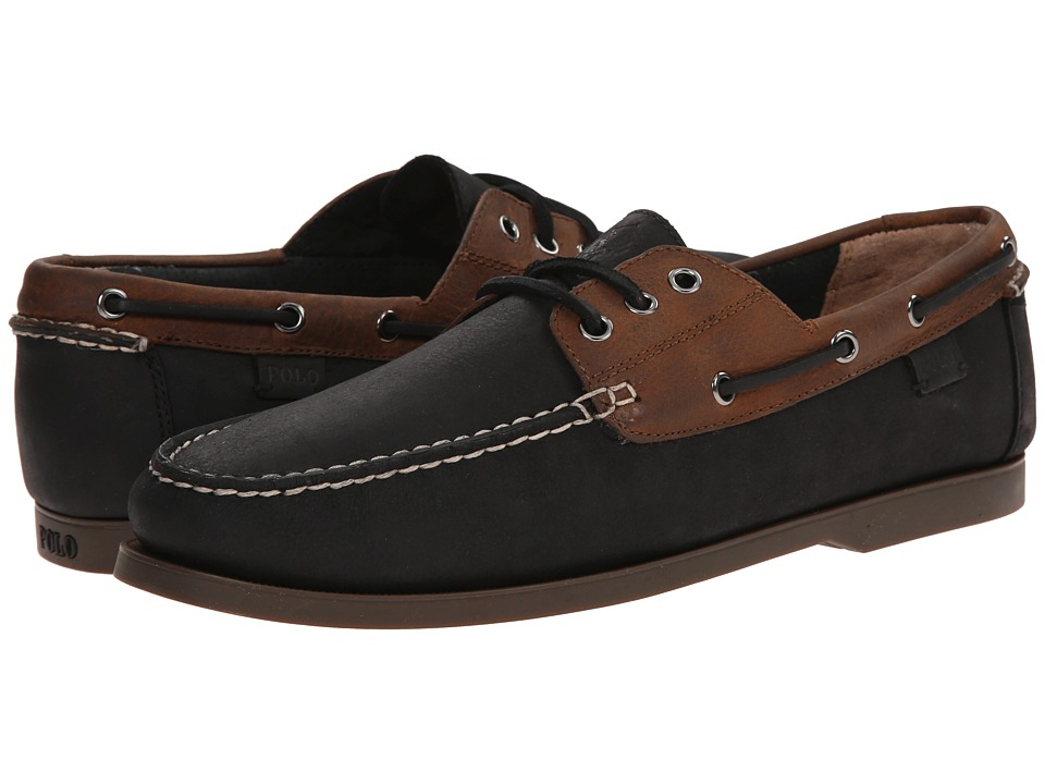Polo Ralph Lauren - Bienne (Black/Tan Waxy Pull Up) Men's Flat Shoes