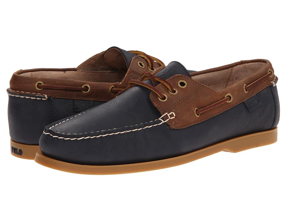 Polo Ralph Lauren - Bienne (Newport Navy/Tan Waxy Pull Up) Men's Flat Shoes