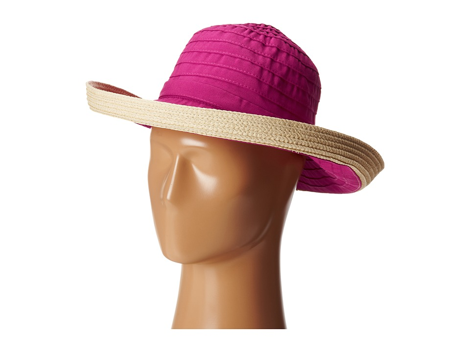 San Diego Hat Company - RBM5554 Ribbon Kettle Brim (Raspberry) Caps