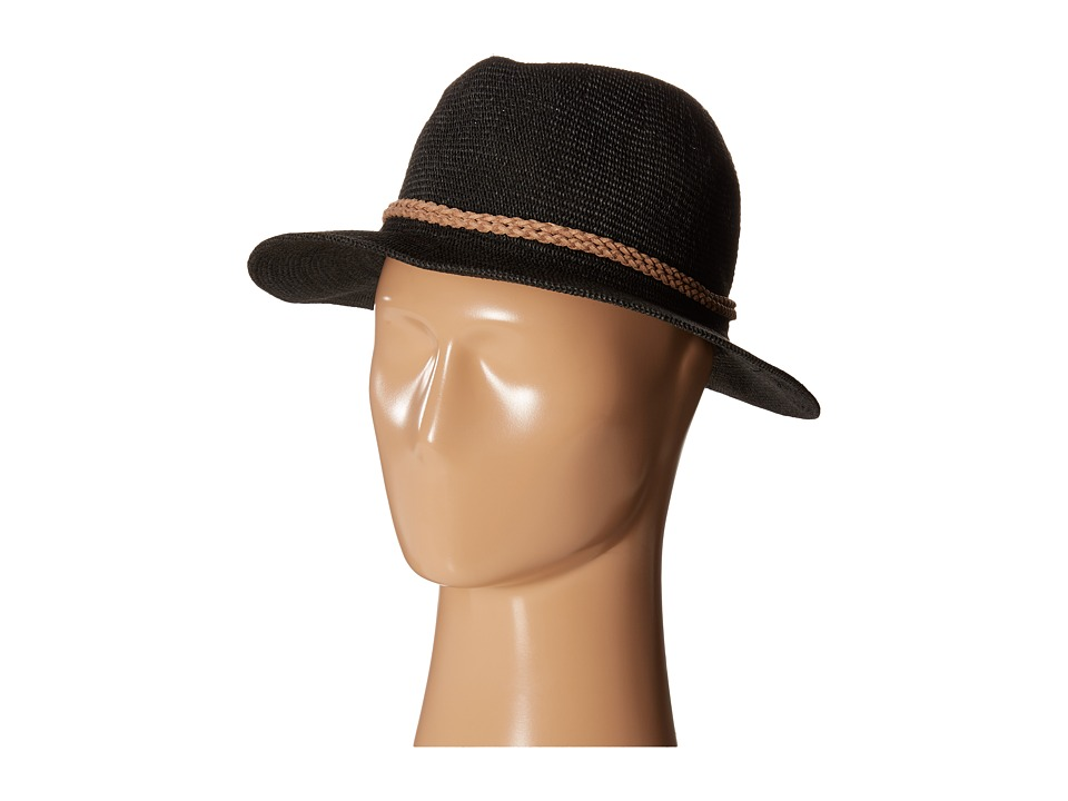 San Diego Hat Company - PBF6162 Woven Paper Fedora w/ Suede Braided Trim (Black) Fedora Hats