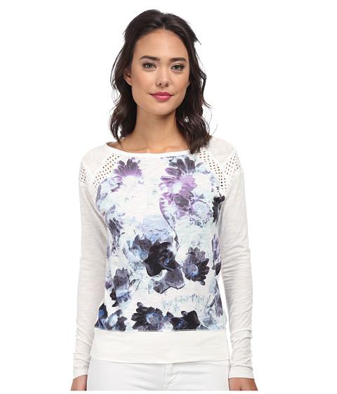 DKNY Jeans - Floral Print Sweatshirt w/ Mesh Trim (White) Women