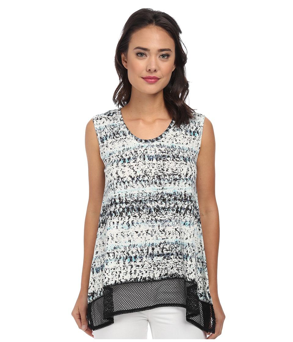 DKNY Jeans - Garden Snake Mesh Trim Top (Turquoise) Women's Sleeveless