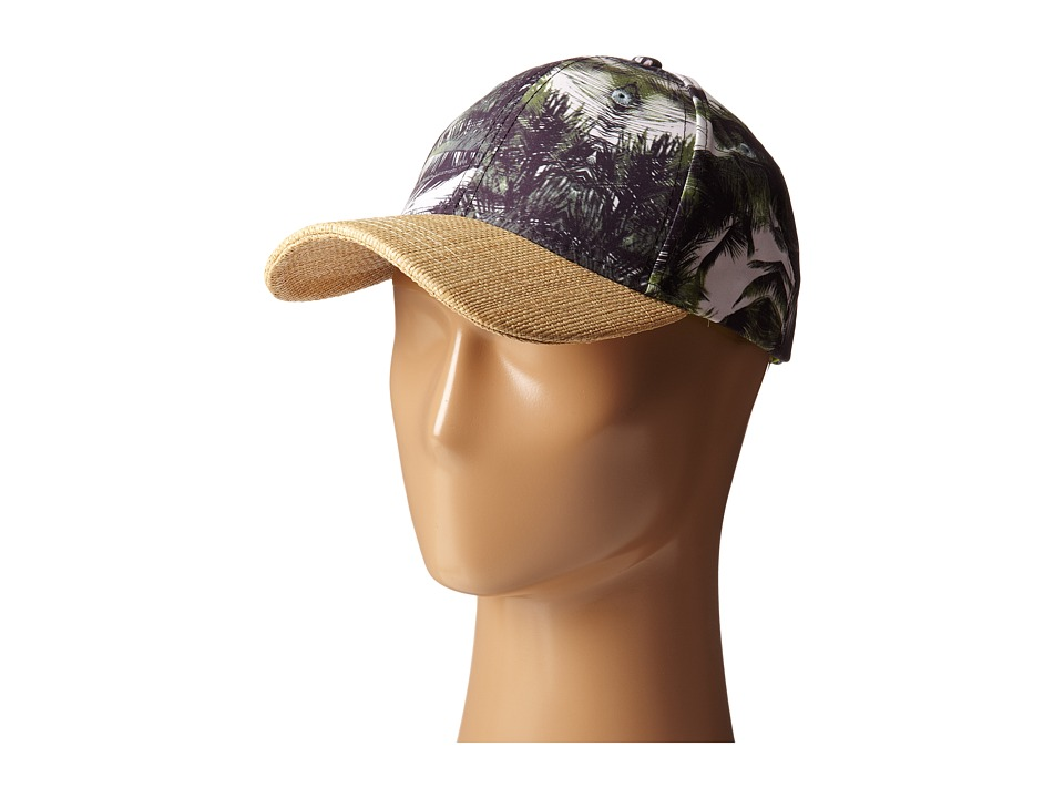 San Diego Hat Company - CTH4083 Palm Print Ball Cap w/ Raffia Bill (Palm) Caps
