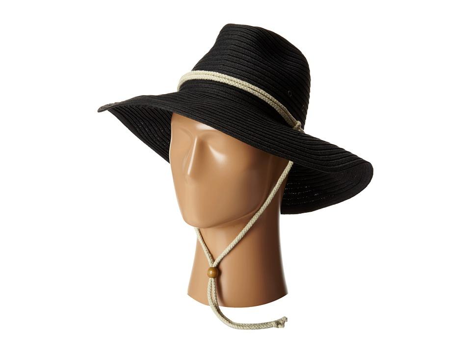 San Diego Hat Company - PBL3032 Sunbrim Hat w/ Rope Chin Cord (Black) Caps