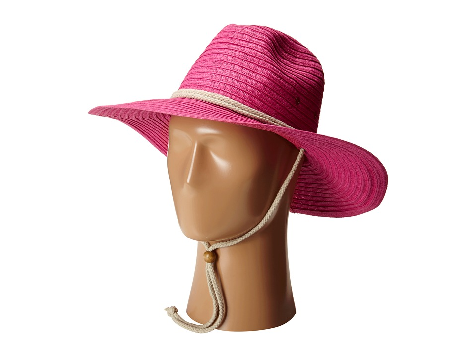 San Diego Hat Company - PBL3032 Sunbrim Hat w/ Rope Chin Cord (Hot Pink) Caps