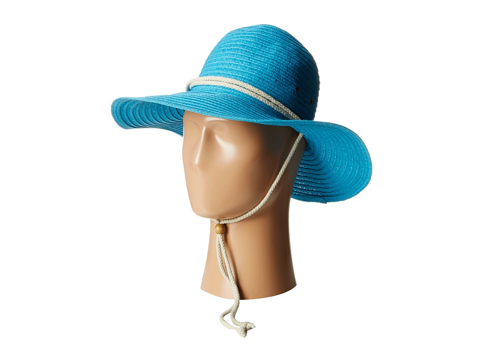 San Diego Hat Company - PBL3032 Sunbrim Hat w/ Rope Chin Cord (Turquoise) Caps