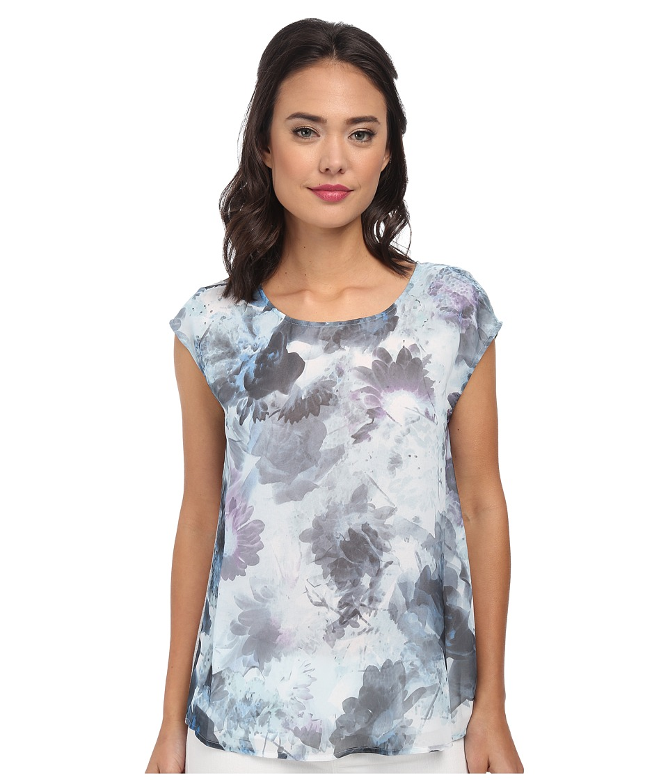 DKNY Jeans - Sea Floral Print Tee w/ Knit Crossover Back (Cobalt) Women