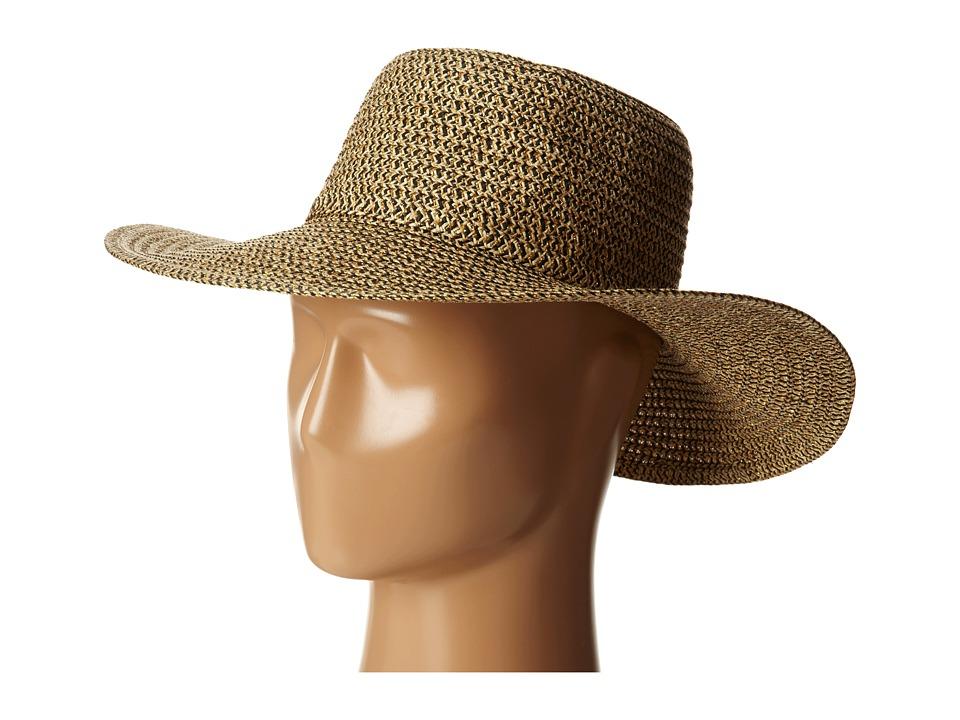 San Diego Hat Company - PBL3046 Sunbrim Hat w/ Lurex and Gold Dome Stud Trim (Mixed Black) Caps
