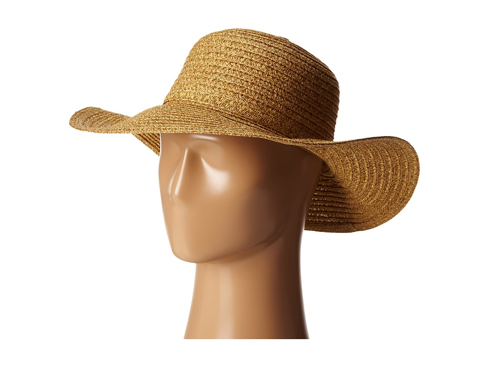 San Diego Hat Company - PBL3046 Sunbrim Hat w/ Lurex and Gold Dome Stud Trim (Mixed Natural) Caps