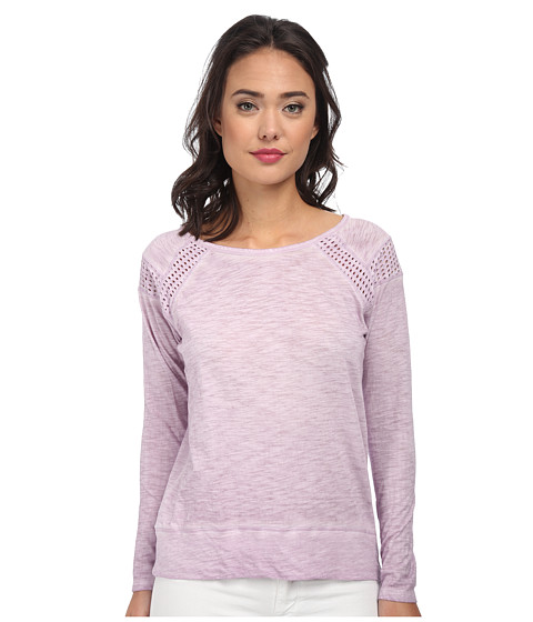 DKNY Jeans - Dry Dye Eyelet Jersey Pieced Top (Lavender) Women's Long Sleeve Pullover