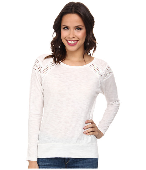 DKNY Jeans - Dry Dye Eyelet Jersey Pieced Top (White) Women