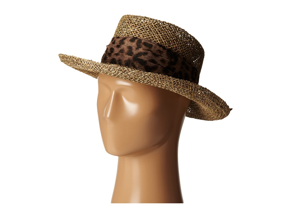 San Diego Hat Company - SGM504 Seagrass Gambler w/ Poly Chiffon Band (Animal) Caps