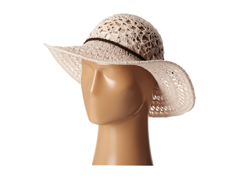 San Diego Hat Company - KNH8004 Knit Crochet Sunbrim w/ Suede Braided Trim (Blush) Caps