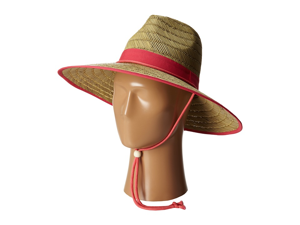 San Diego Hat Company - RSL5556 Rush Straw Lifeguard w/ Band and Chin Cord (Hot Pink) Caps