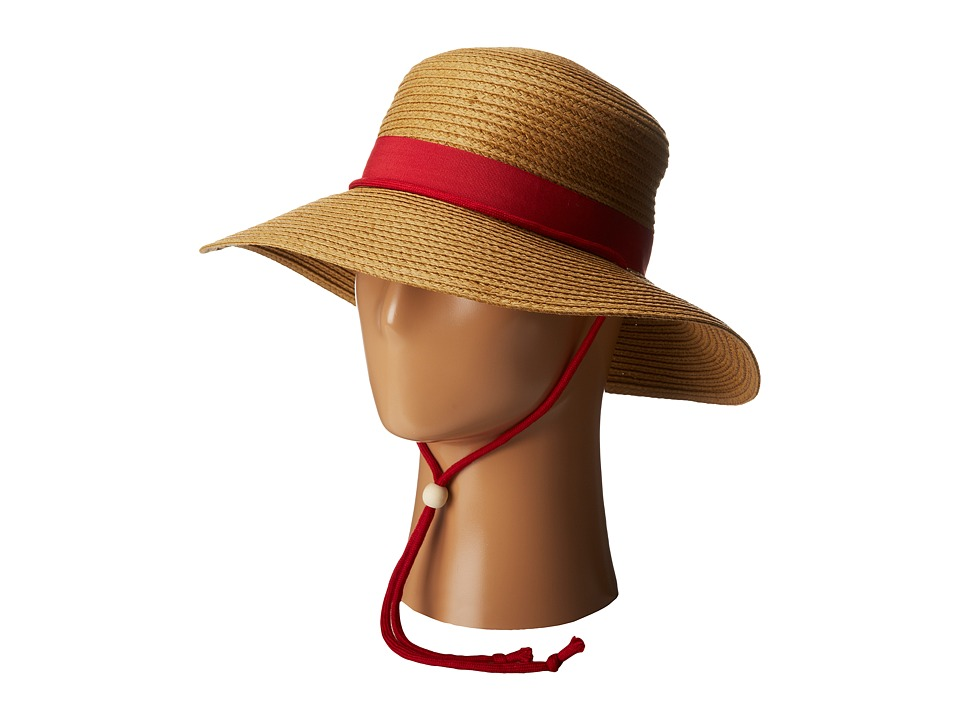 San Diego Hat Company - PBL3042 Paper Sunbrim w/ Fabric Band and Chin Cord (Red) Caps