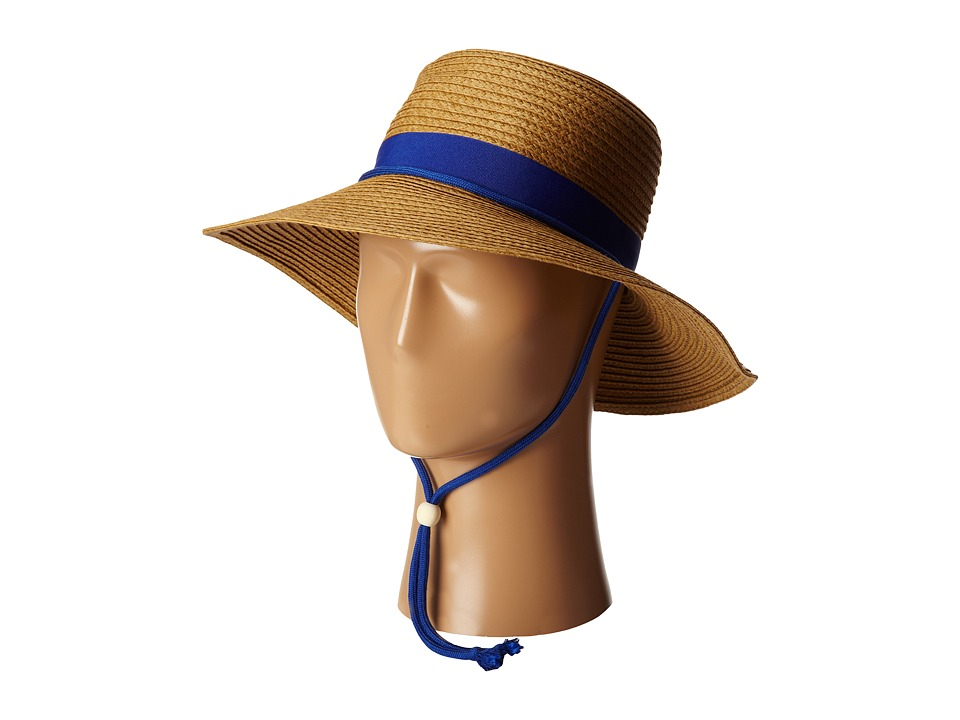 San Diego Hat Company - PBL3042 Paper Sunbrim w/ Fabric Band and Chin Cord (Royal) Caps