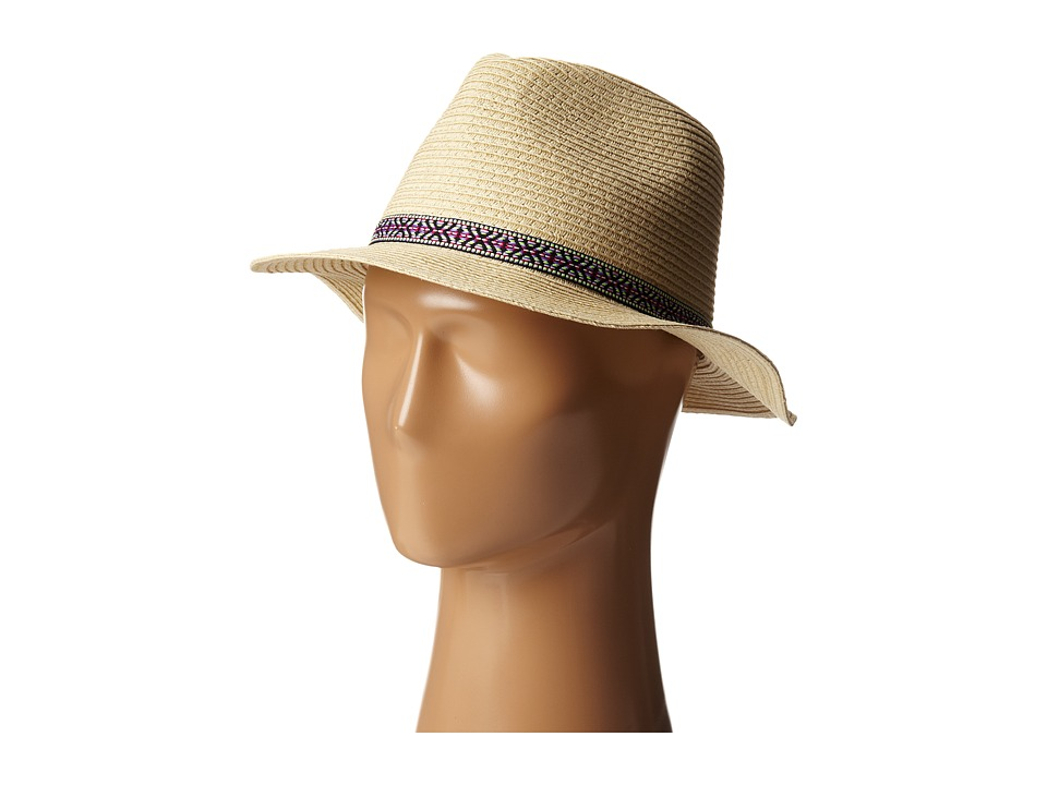 San Diego Hat Company Kids - PBK3220 Panama Fedora w/ Jacquard Band (Big Kids) (Natural) Fedora Hats
