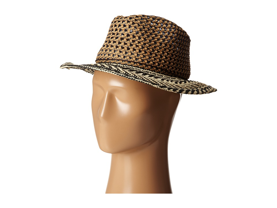 San Diego Hat Company - PBF6176 Woven Paper Tribal Fedora w/ Rope Trim (Black) Fedora Hats