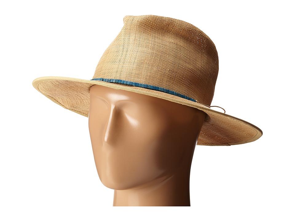 San Diego Hat Company - RHF6116 Raffia Panama Fedora w/ Turquoise Beads (Natural) Fedora Hats
