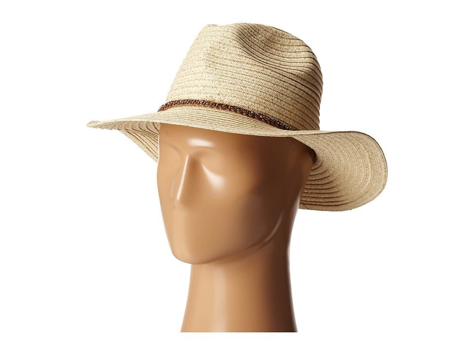 San Diego Hat Company - PBF6174 Paper Braid Panama Fedora w/ Diamond Band (Natural) Fedora Hats