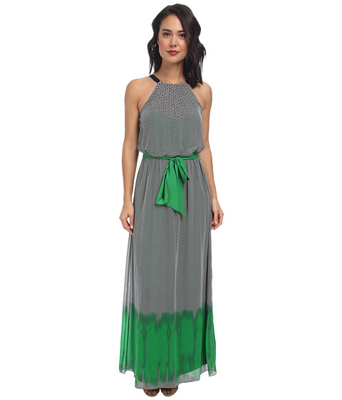 Vince Camuto - Crepe Gauze Printed Halter Maxi w/ Back Neck Tie (Green) Women's Dress