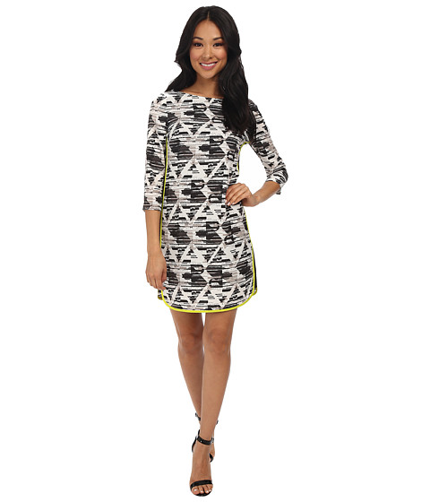 Vince Camuto - Shift Dress w/ Elbow Sleeves and Contrast Color Combo At Sides (Print) Women