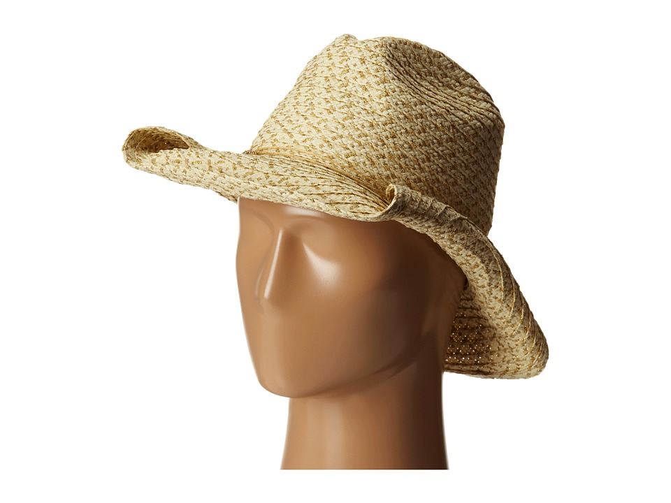 San Diego Hat Company - PBC1028 Cowboy Hat w/ Lurex Paper and Metallic Trim (Gold) Traditional Hats