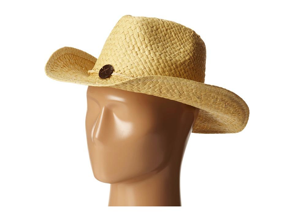 San Diego Hat Company - PBC2441 Woven Paper Cowboy w/ Coconut Trim Detail (Natural) Cowboy Hats