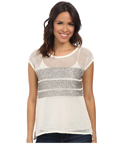 DKNY Jeans - Beaded Mesh Top (Cable Cream) Women's Short Sleeve Pullover