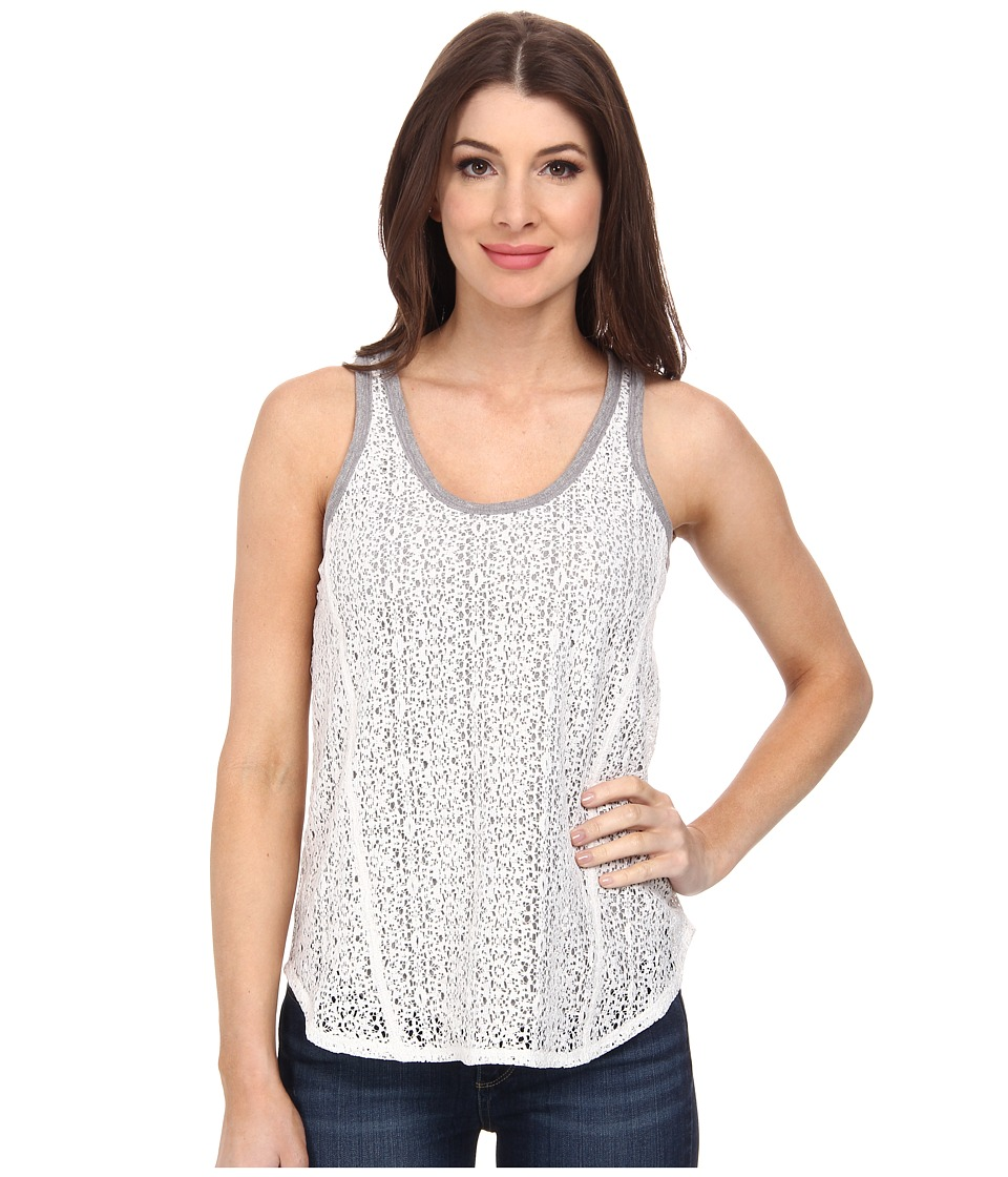DKNY Jeans - Foil Lace Tank Top (Polar Cream) Women's Sleeveless