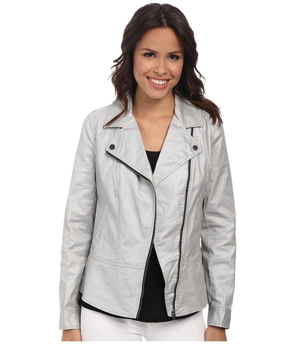 DKNY Jeans - Coated Twill Biker Jacket (Silver) Women's Coat