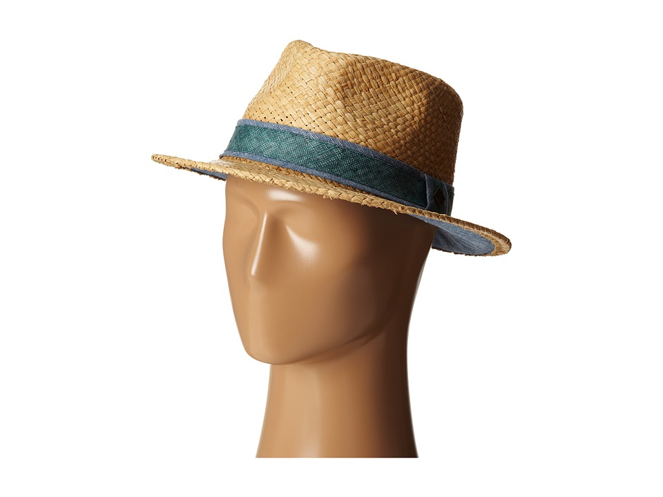 San Diego Hat Company - SDH2029 Straw Panama Fedora w/ Chambray Band Underbrim (Natural) Fedora Hats