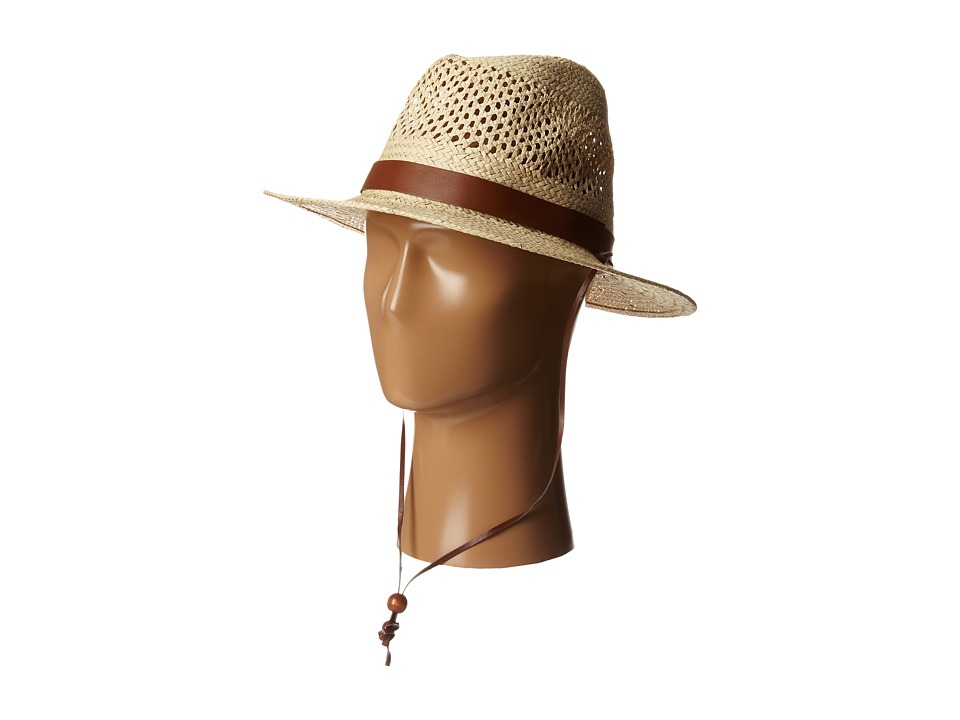 San Diego Hat Company - PBF7002 Woven Paper Straw Panama Fedora w/ Chin Cord (Natural) Fedora Hats
