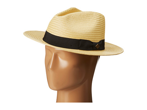 San Diego Hat Company - SDH2027 Panama Fedora w/ Black Ribbon Band (Natural) Fedora Hats