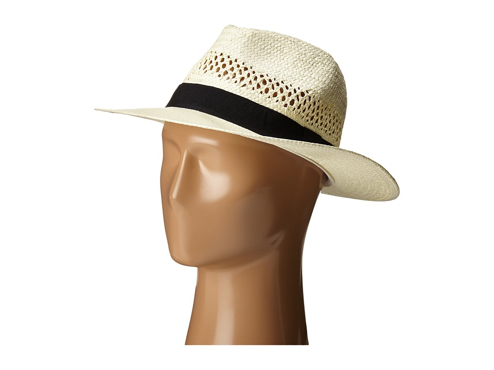 San Diego Hat Company - PBF7004 Woven Paper Fedora w/ Vented Crown (Ivory) Fedora Hats