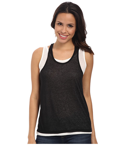 DKNY Jeans - Double Layer Tank Top (Noir) Women's Sleeveless