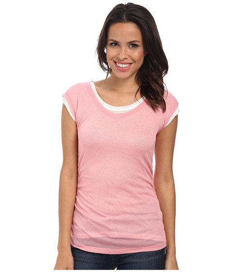 DKNY Jeans - Ruched Double Layer Tee (Coral) Women's T Shirt