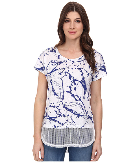 DKNY Jeans - Paint Drop Print Mesh Trim Tee (Cobalt) Women's T Shirt