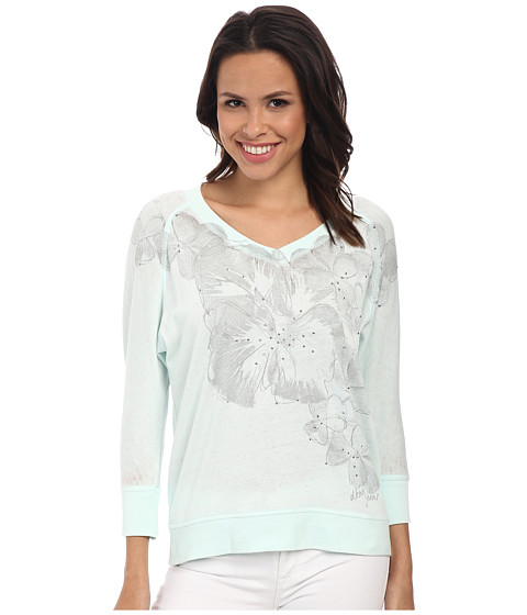 DKNY Jeans - Sketchy Floral Graphic Sweatshirt (Mint) Women
