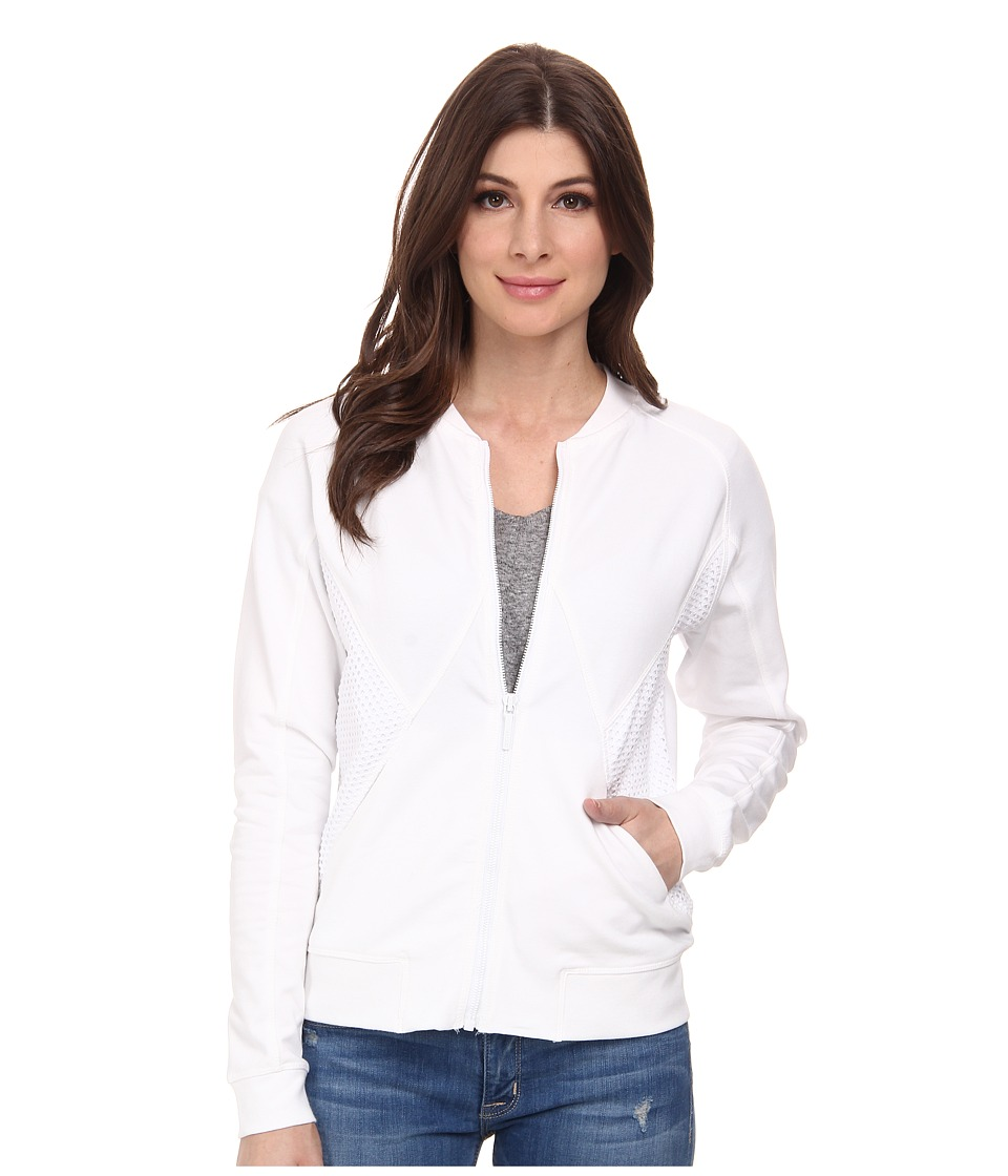 DKNY Jeans - Eyelet Pieced Bomber Jacket (White) Women