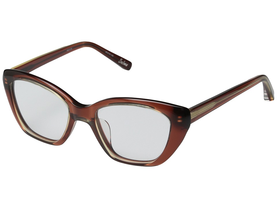 Elizabeth and James - Selma (Shiny Crystal Honey/Brown Lamination) Fashion Sunglasses