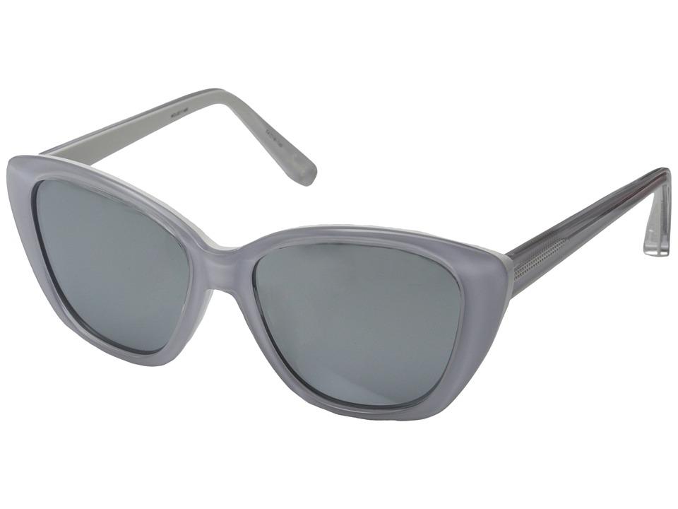 Elizabeth and James - Smith (Shiny Crystal/White Lamination/Smoke Mono/Silver Mirror Lens) Fashion Sunglasses