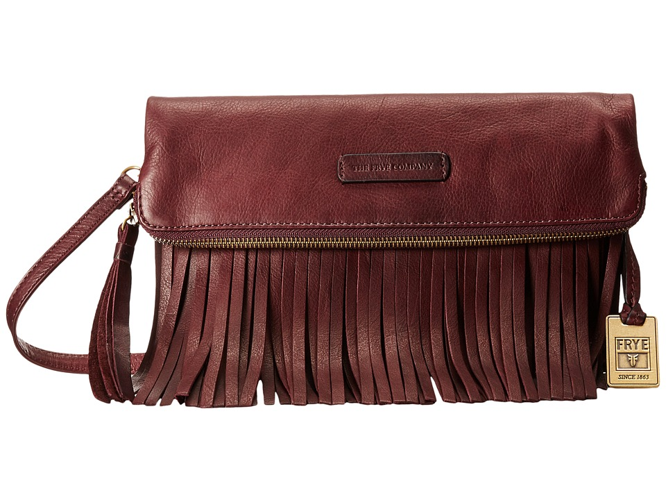 Frye - Heidi Fringe Crossbody (Plum Soft Vintage Leather) Cross Body Handbags