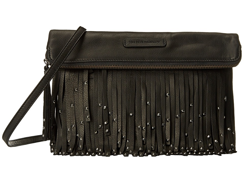 Frye - Heidi Stud Fringe Crossbody (Black Soft Vintage Leather) Cross Body Handbags