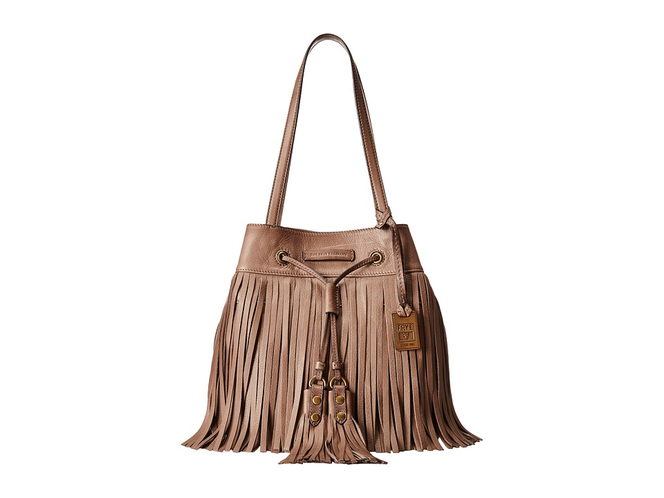 Frye - Heidi Fringe Bucket (Grey Soft Vintage Leather) Shoulder Handbags