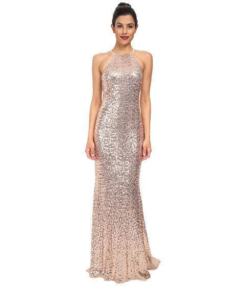 Badgley Mischka - Sequin Halter Gown (Blush) Women